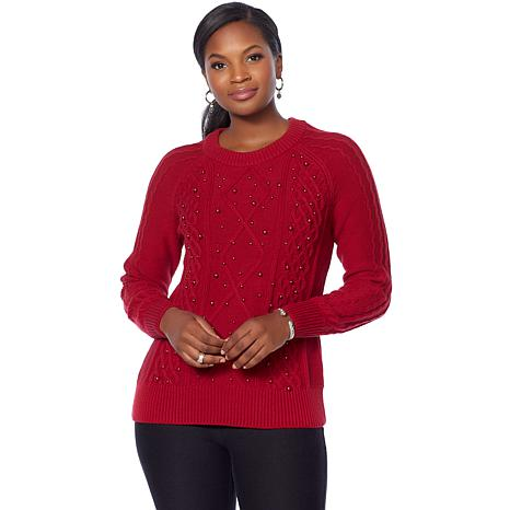 Jamie Gries Embellished Cable Knit Sweater