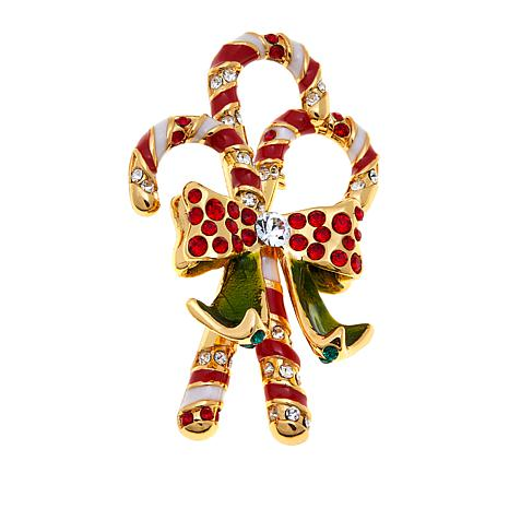 JAY Jay Strongwater Enamel Candy Cane Pin