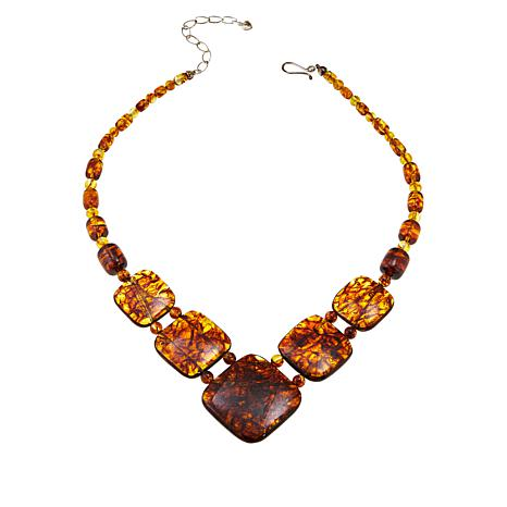 "Jay King 17"" Sterling Silver Cushion-Cut Amber Necklace"