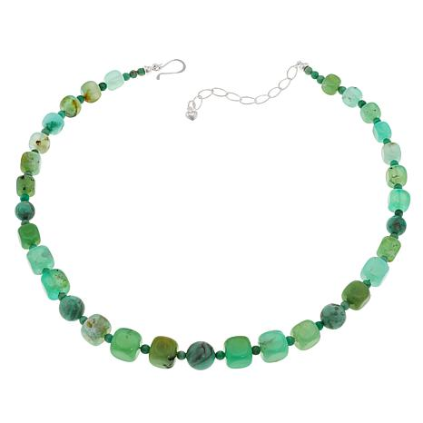 "Jay King 18"" Sterling Silver Chrysoprase and Variscite Beaded Necklace"