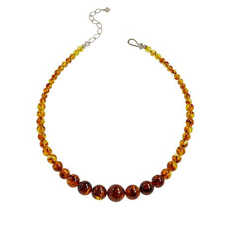 """Jay King 18"""" Sterling Silver Golden Brown Amber Beaded Necklace"""