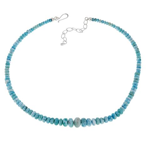 "Jay King 18"" Sterling Silver Larimar Beaded Necklace"