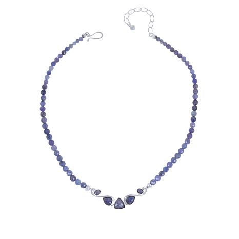 """Jay King 18"""" Sterling Silver Tanzanite Beaded Station Necklace"""