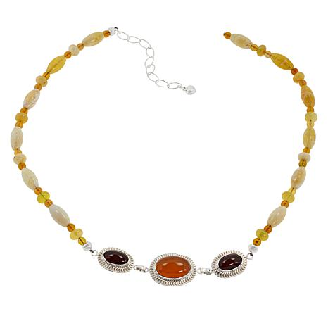 "Jay King 18"" Sterling Silver Yellow and Mexican Opal Station Necklace"