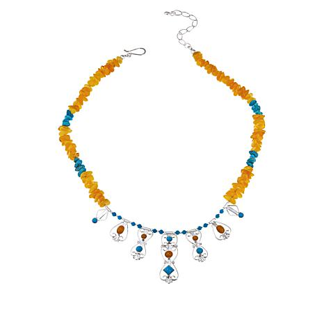 "Jay King 18"" Turquoise and Butterscotch Amber Necklace"