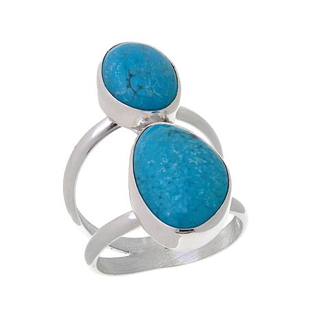 Jay King 2-Stone Mongolian Mist Turquoise Ring
