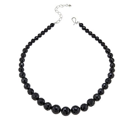"Jay King 20"" Sterling Silver Midnight Onyx Graduated Bead Necklace"