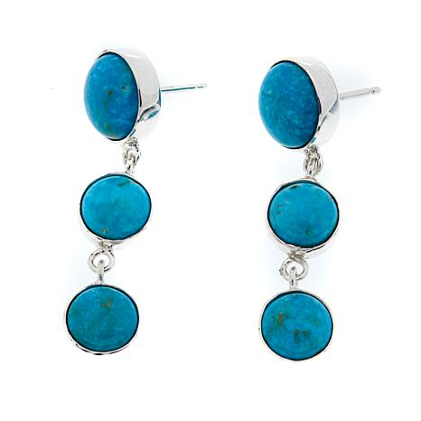 Jay King 3-Stone Turquoise Drop Sterling Silver Earrings
