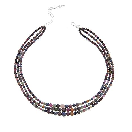"Jay King 3-Strand Colors of Sapphire 18"" Sterling Silver Necklace"
