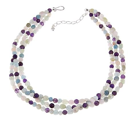 "Jay King 3-Strand Multigemstone Bead 18"" Sterling Silver Necklace"