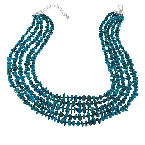 Jay King 5-Strand Turquoise Hill and Black Spinel Necklace