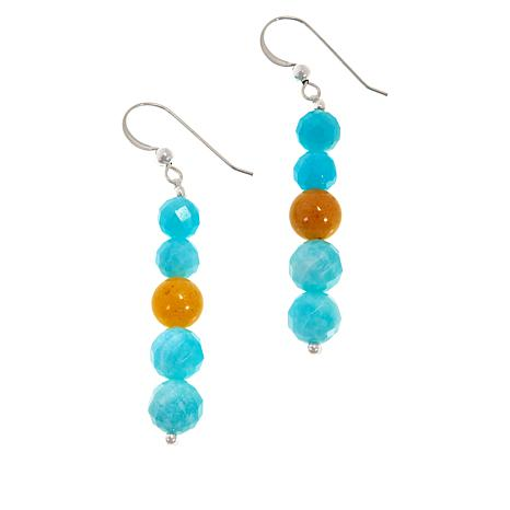 Jay King Amazonite and Butterscotch Amber Bead Drop Earrings