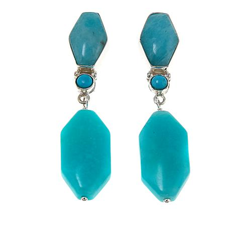 Jay King Amazonite and Turquoise Drop Sterling Silver Earrings