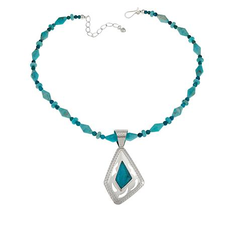 Jay King Amazonite and Turquoise Hill Turquoise Pendant with Necklace