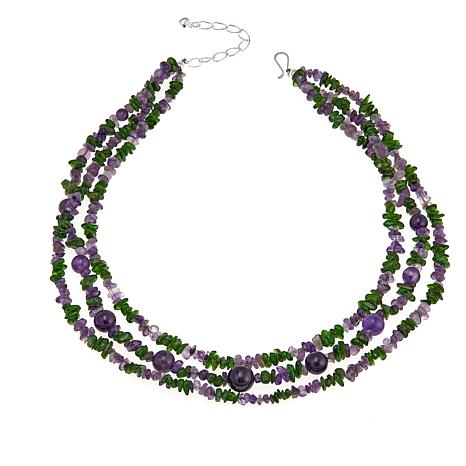 Jay King Amethyst and Green Diopside 3-Strand Necklace