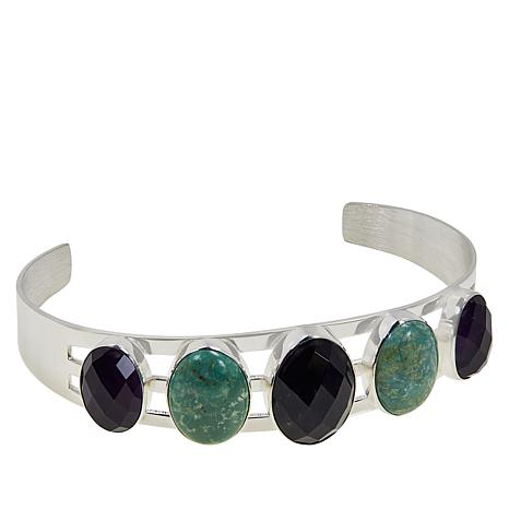 Jay King Amethyst and New Red Skin Turquoise Cuff Bracelet