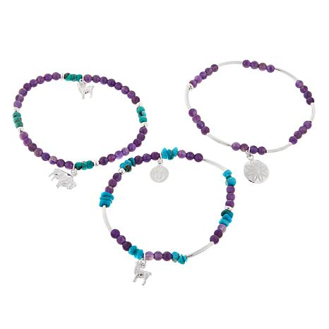 Jay King Amethyst and Turquoise Stretch Bracelets