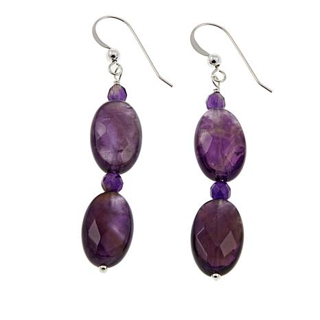 Jay King Amethyst Sterling Silver Oval and Round Drop Earrings
