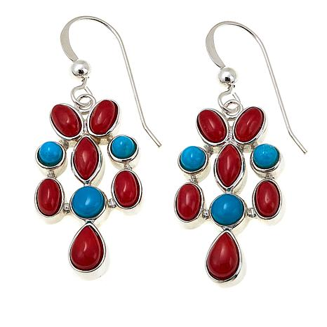 Jay King Andean Blue Turquoise and Red Sea Bamboo Coral Drop Earrings