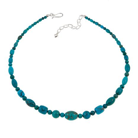 "Jay King Azure Peaks Turquoise Bead 18"" Sterling Silver Necklace"