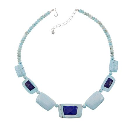"Jay King Blue Aragonite and Lapis Bead 20"" Sterling Silver Necklace"
