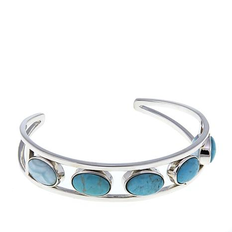 Jay King Blue Aragonite and Turquoise Reversible Stone Cuff Bracelet