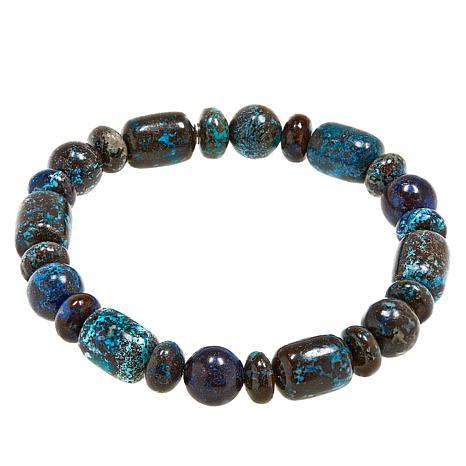 Jay King Blue Forest Stone Bead Stretch Bracelet