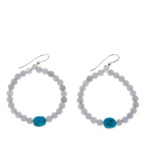 Jay King Blue Lace Agate and Turquoise Bead Sterling Silver Earrings