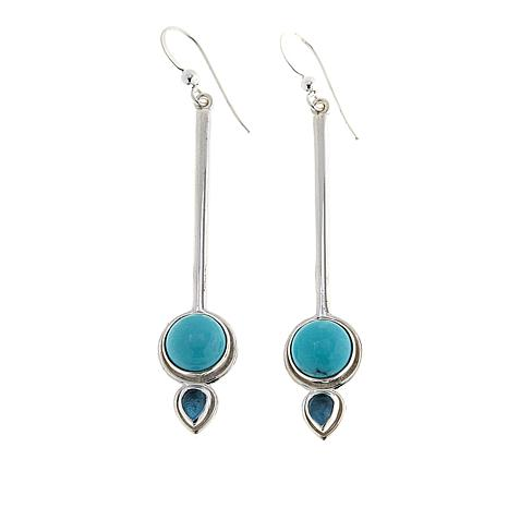 Jay King Blue Topaz and Campitos Turquoise Dangle Earrings