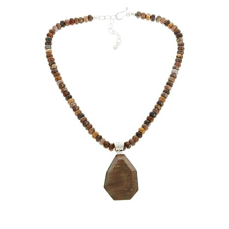 Jay King Brown and Gray Petrified Wood Pendant with Necklace