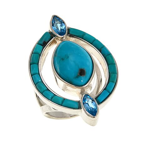 Jay King Campitos Turquoise & Blue Topaz Marquise Ring