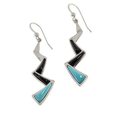 Jay King Campitos Turquoise and Feldspar Zig-Zag Drop Earrings