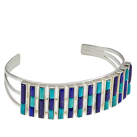 Jay King Campitos Turquoise and Lapis Stacked Negative-Space Cuff