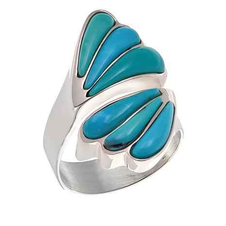 Jay King Campitos Turquoise Sterling Silver Bypass Ring