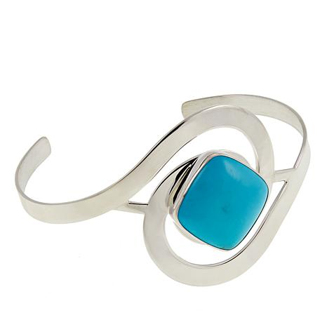 Jay King Campitos Turquoise Sterling Silver Swirl Cuff Bracelet