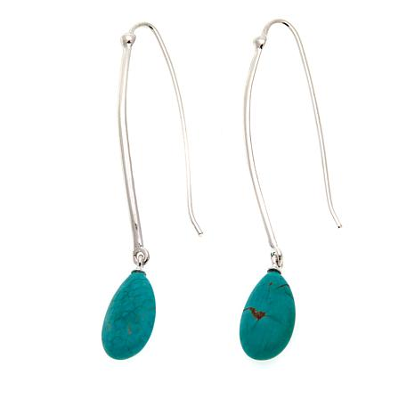 """Jay King Chilean Turquoise Cabochon 2-1/2"""" Wire Drop Earrings"""