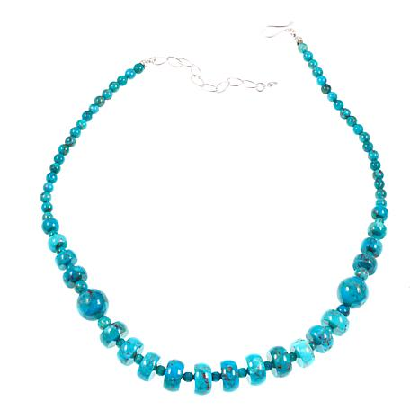 "Jay King Compressed Azure Peaks Turquoise 18"" Sterling Silver Necklace"