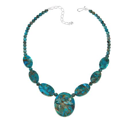 "Jay King Compressed Iron Mountain Turquoise 18"" Necklace"