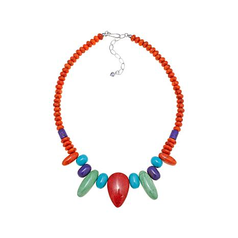 """Jay King Coral and Multigemstone 18-1/4"""" Necklace"""