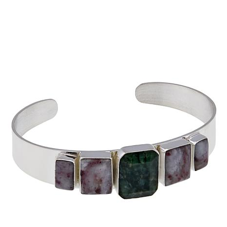 Jay King Dark Green Opal And Tourmaline Sterling Silver Cuff Bracelet