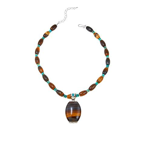 "Jay King Desert Sunset Jasper and Turquoise Pendant with 18"" Necklace"