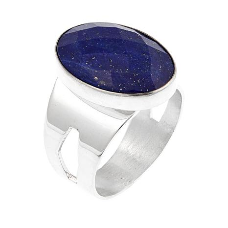 Jay King Faceted Oval Lapis Sterling Silver Ring