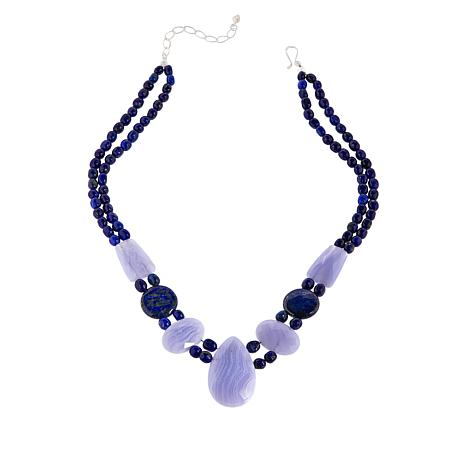 Jay King Gallery Collection Blue Lace Agate and Lapis Necklace