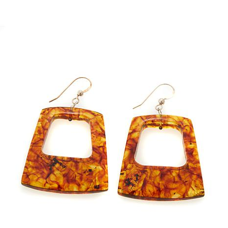 Jay King Geometric Cut-Out Amber Drop Earrings