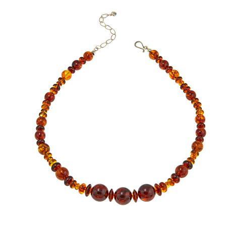 "Jay King Golden Brown Amber Bead 18-1/4"" Sterling Silver Necklace"