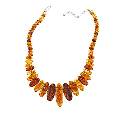 "Jay King Golden Brown Amber Graduated 17-3/4"" Sterling Silver Necklace"