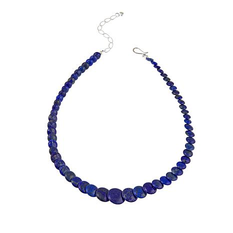 """Jay King Graduated Lapis Disc Bead 18"""" Sterling Silver Necklace"""
