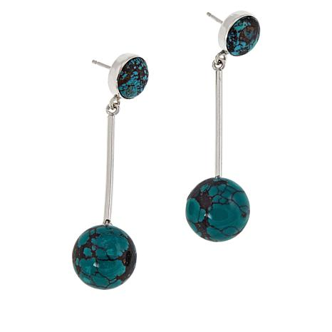 Jay King Hubei Turquoise Stick Drop Sterling Silver Earrings