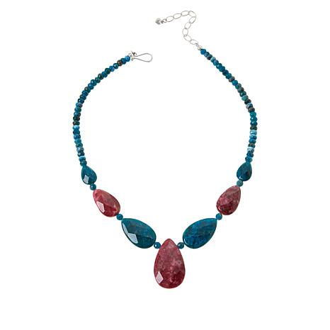 Jay King Indigo Blue Apatite and Red Thulite Reversible Necklace