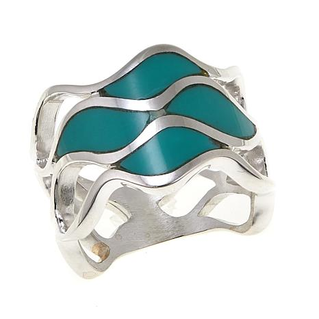 Jay King Inlaid Turquoise Wavy Band Sterling Silver Ring
